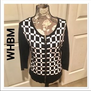 WHBM Black & White Checkered Zip up Cardigan Large